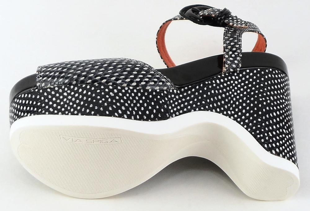 Via Spiga: White black Leather 'AUBREY' Sandals