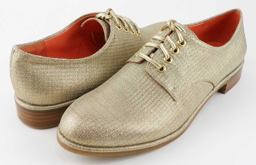 style #G8741 Gold Metallic Fabric 'IVETTE' Oxfords