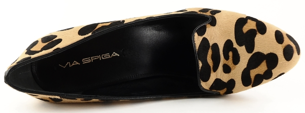 Via Spiga: Black brown leopard Pony Hair 'LORENA' Pumps