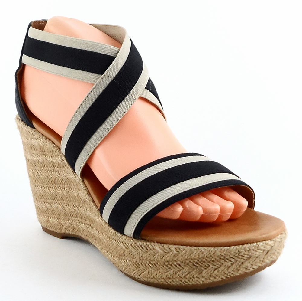 Paul Green: Blue Combo Fabric 'MONIQUE ' Platforms,Wedges