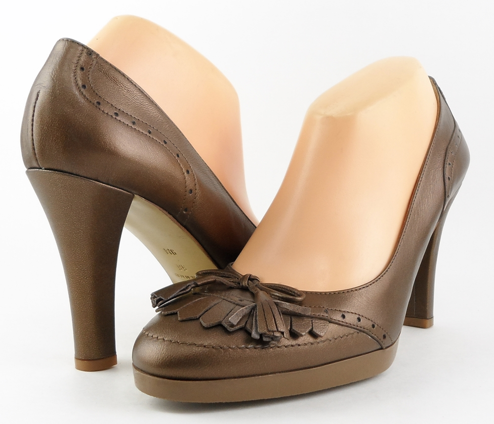 style #A3483 Brown  Leather 'KITTY' Pumps