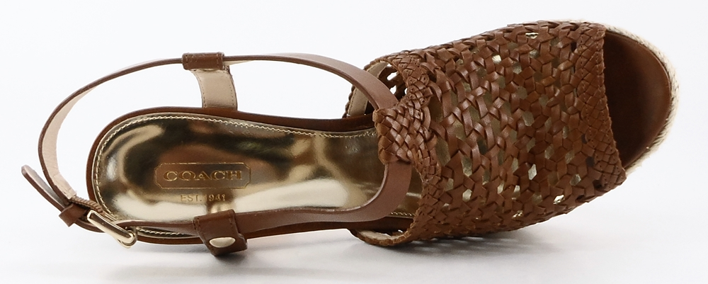 Coach: Brown Cowboy Leather 'ZANY ' Platforms,Wedges