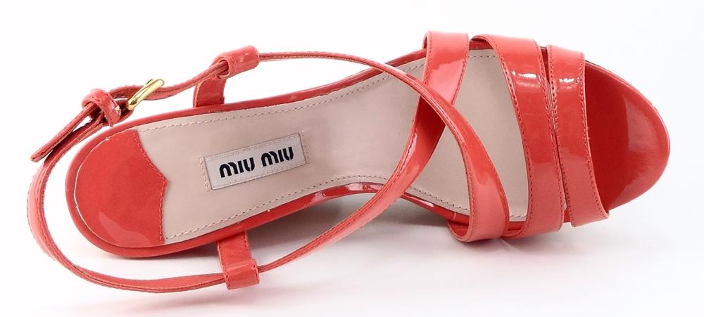 Miu Miu: Coral Patent '5XZ122' Platforms,Wedges