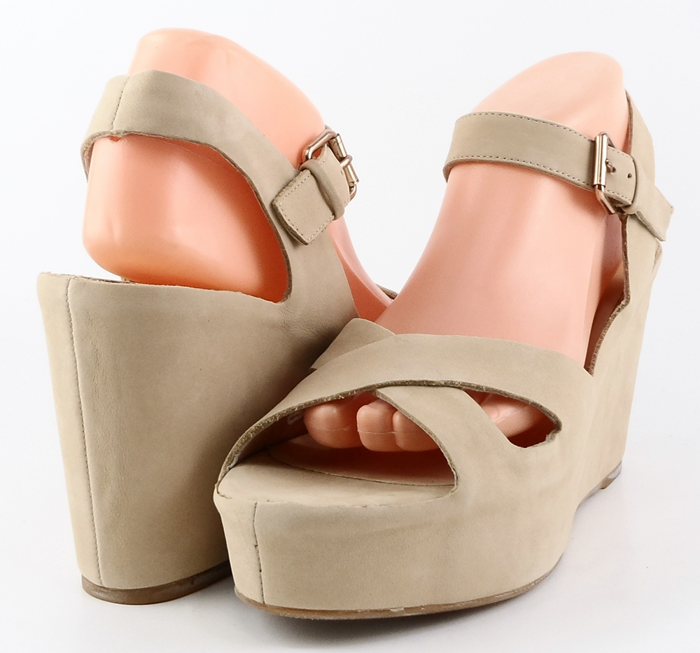 style #A6345 Nude Nubuck 'EILEEN' Platforms,Wedges