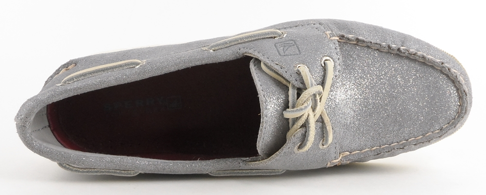 Sperry Top-Sider: Silver Sparkle Suede 'A/O' Flats