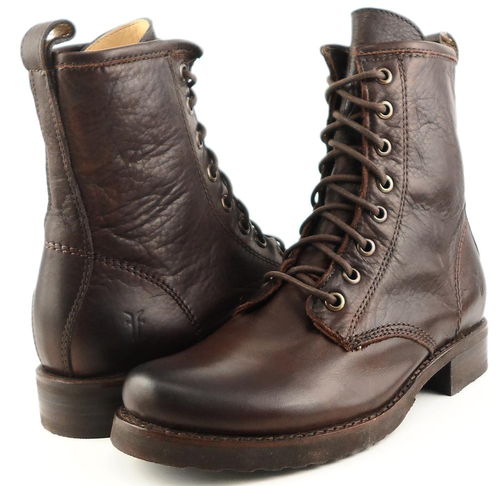 frye combat brown leather womens designer