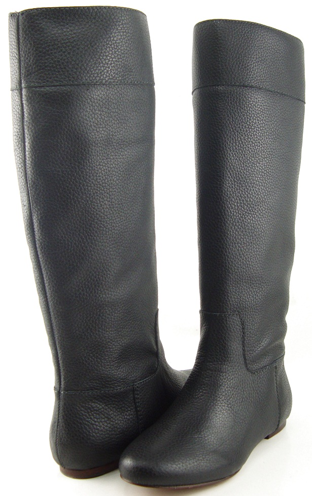 POUR LA VICTOIRE ORVILLE Black Leather Designer Fashion Knee High ...