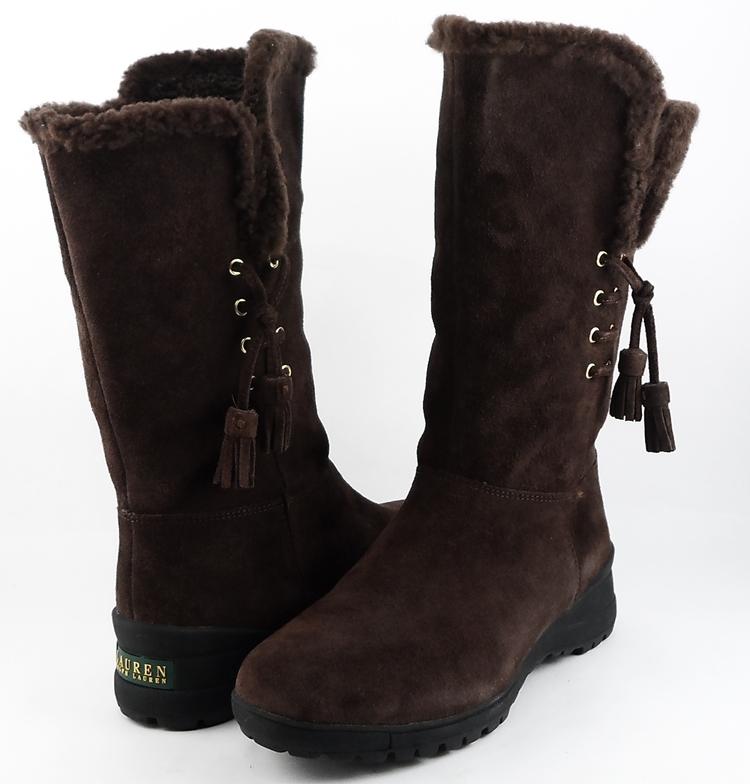 Excellent  Ralph Lauren Lauren Ralph Lauren Mara Women Suede Black Ankle Boot