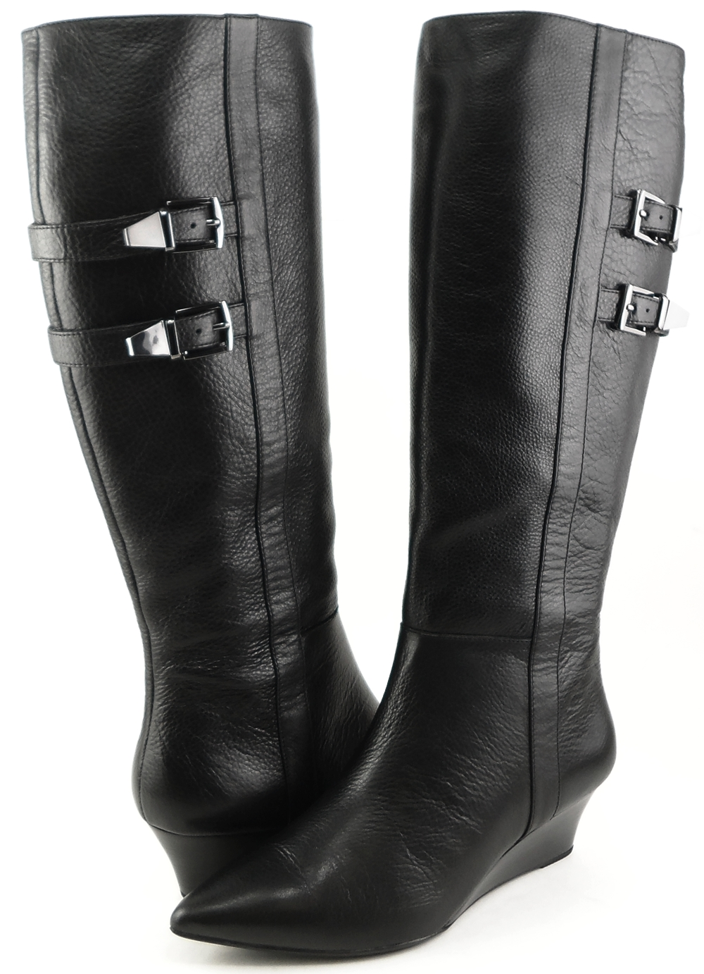 SOFFT ANNORA Black Leather Designer Pointed Toe Knee High Low ...