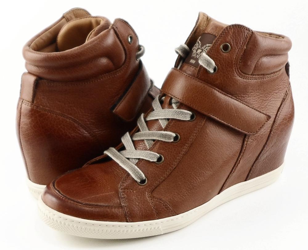 paul green paris saddle leather designer high top wedge sneakers 9 5. Black Bedroom Furniture Sets. Home Design Ideas