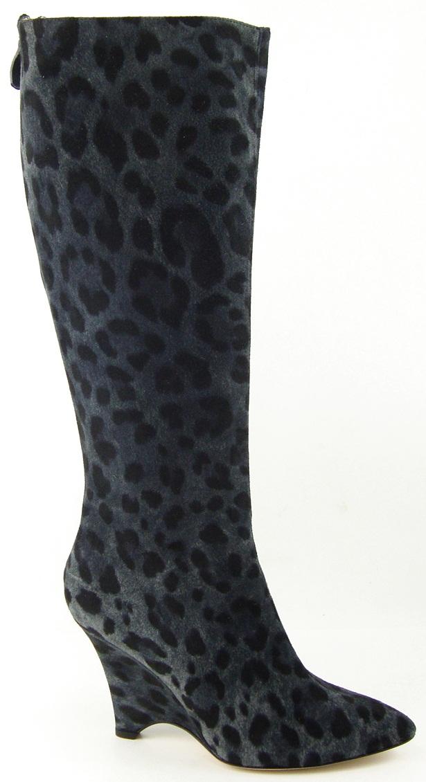 Kate Spade Darya Grey Leopard Womens Designer Shoes Knee High Wedge