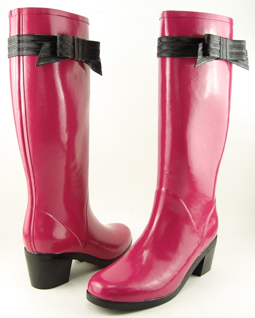 KATE SPADE RANDI Lipstick Pink Womens Rubber Knee High Rain Boots 9 M